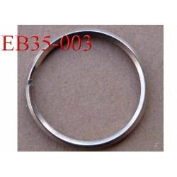 Boucle étrier anneau métal chromé diamètre extérieur 3.5 cm diamètre intérieur 3 cm épaisseur 2.8 mm