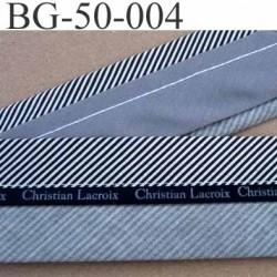 sangle biais ruban CHRISTIAN LACROIX couleur gris et noir et blanc largeur 5 cm souple vraiment très très solide incassable