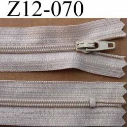 fermeture éclair longueur 12 cm couleur beige non séparable largeur 2.5 cm glissière nylon largeur glissière 4 mm
