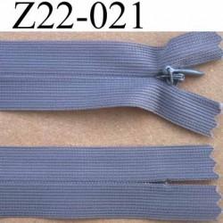 fermeture éclair invisible grise longueur 22 cm  couleur gris non séparable zip nylon largeur 2.5 cm