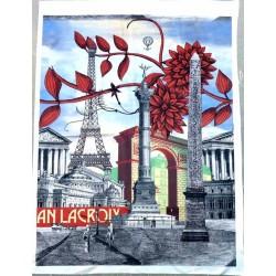 superbe carré tissus CHRISTIAN LACROIX PARIS collector 99 cm par 73 cm