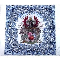 Superbe carré rectangle pièce de tissus CHRISTIAN LACROIX  représentant la plaza de toros collector vintage