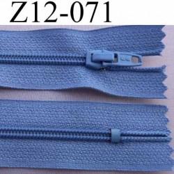 fermeture éclair longueur 12 cm couleur bleu non séparable largeur 2.5 cm glissière nylon largeur 4 mm curseur métal
