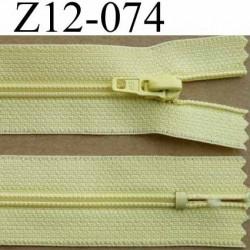 fermeture éclair longueur 12 cm couleur jaune non séparable largeur 2.5 cm glissière nylon largeur 4 mm curseur métal