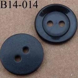 bouton 14 mm couleur noir brillant 2 trous 14 millimètres