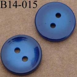 bouton 14 mm couleur bleu brillant 2 trous 14 millimètres