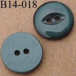 bouton 14 mm couleur vert brillant 2 trous 14 millimètres