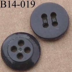 bouton 14 mm couleur marron 4 trous 14 millimètres