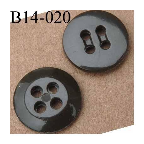 bouton 14 mm couleur marron vert 4 trous 14 millimètres