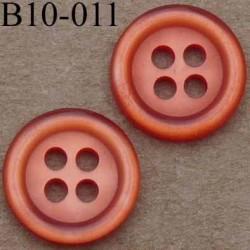 bouton diamètre 10 mm couleur rouge orangé 4 trous