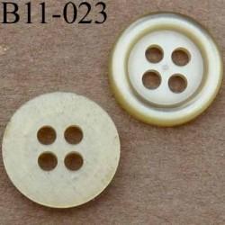 bouton 11 mm couleur jaune vert 4 trous diamètre 11 millimètres