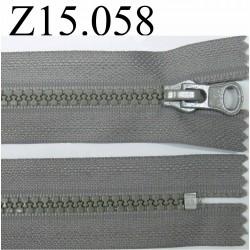 fermeture 15 cm gris non séparable zip nylon