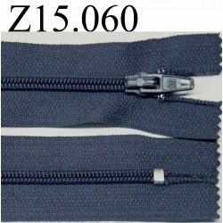 fermeture 15 bleu gris non séparable zip nylon