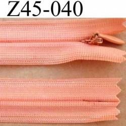 fermeture éclair invisible longueur 45 cm couleur rose orangé saumon non séparable largeur 2.2 cm glissière nylon largeur 4 mm