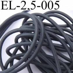 élastique cordon très belle qualité et très résistant couleur gris foncé largeur 2,5 mm au mètre