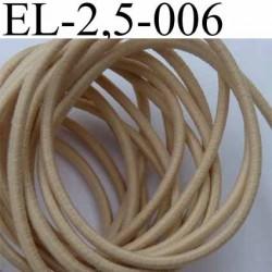 élastique cordon très belle qualité et très résistant couleur beige largeur 2,5 mm au mètre