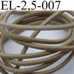 élastique cordon très belle qualité et très résistant couleur marron clair vert kaki largeur 2,5 mm au mètre