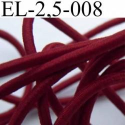 élastique cordon très belle qualité et très résistant couleur bordeau clair largeur 2,5 mm au mètre