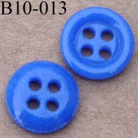bouton diamètre 10 mm couleur  bleu 4 trous