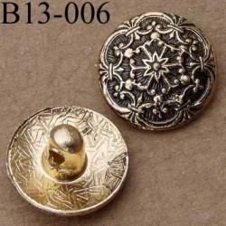 bouton 13 mm métal doré style ancien accroche un anneau diamètre 13 millimètres