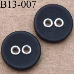 bouton 13 mm couleur noir 2 trous diamètre 13 millimètres
