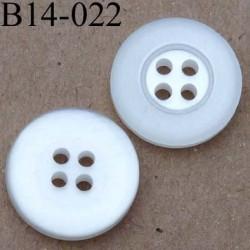 bouton 14 mm couleur blanc  4 trous 14 millimètres