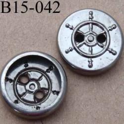 bouton 15 mm en métal chromé patiné style marin 2 trous diamètre 15 millimètres