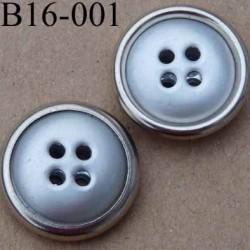 bouton 16 mm  couleur métal gris bordure chromée 4 trous diamètre 16 millimètres