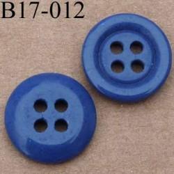 bouton 17 mm couleur bleu mat 4 trous diamètre 17 millimètres