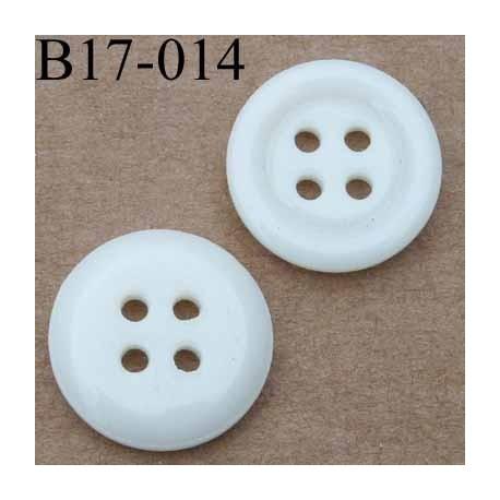 bouton 17 mm couleur blanc brillant  4 trous diamètre 17 millimètres