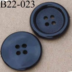 bouton 22 mm noir polyestère 4 trous diamètre 22 mm