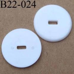 bouton 22 mm blanc brillant 1 trou diamètre 22 mm