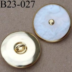 bouton 23 mm métal doré et blanc nacré accroche un anneau diamètre 23 millimètres
