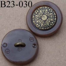 bouton 23 mm métal et polyestère marron accroche un anneau diamètre 23 millimètres