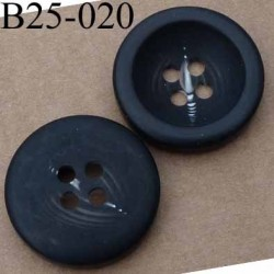 bouton 25 mm noir mat fantaisie 4 trous diamètre 25 millimètres