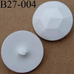 bouton 27 mm polyestère blanc accroche un anneau diamètre 27 millimètres