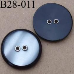 bouton 28 mm gris nacré et noir 2 trous diamètre 28 mm