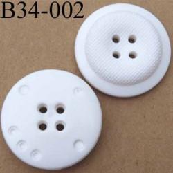 bouton 34 mm blanc fantaisie 4 trous diamètre 34 mm