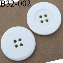 bouton diamètre 32 mm couleur blanc brillant 4 trous