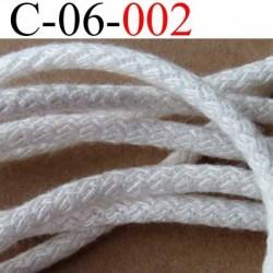 cordon en coton couleur blanc vraiment très très solide diamètre 6 mm vendu au mètre