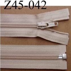 fermeture zip YKK longueur 45 cm couleur beige séparable largeur 3.2 cm largeur du zip spirale 6,5 mm curseur métal