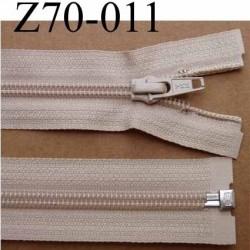 fermeture éclair YKK longueur 70 cm couleur beige séparable largeur 3.2 cm largeur du zip spirale 6,5 mm curseur métal