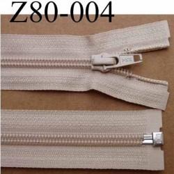 fermeture éclair YKK longueur 80 cm couleur beige séparable largeur 3.2 cm largeur du zip spirale 6,5 mm curseur métal