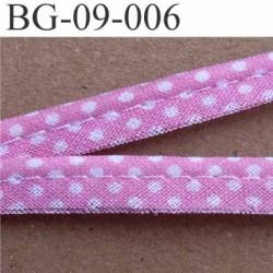 biais galon ruban passe poil en coton couleur rose et à poids blanc avec cordon coton très solide largeur 9 mm vendu au mètre