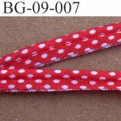 biais galon ruban passe poil en coton couleur rouge et à poids blanc avec cordon coton très solide largeur 9 mm vendu au mètre