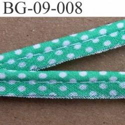 biais galon ruban passe poil en coton couleur vert et à poids blanc avec cordon coton très solide largeur 9 mm vendu au mètre