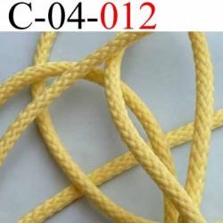 cordon en synthétique avec lien 100% coton à l'intérieur très très solide couleur jaune diamètre 4 mm vendu au mètre