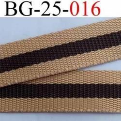 sangle biais ruban a plat polyèstère couleur beige et marron largeur 2.5 cm épaisseur 1.5 mm très très solide au mètre