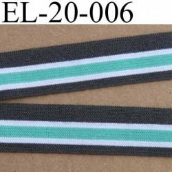 élastique plat souple belle qualité couleur gris vert et blanc largeur 20 mm vendu au mètre