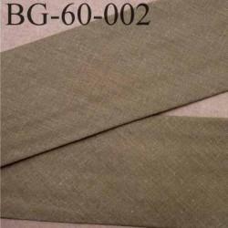 biais ruban galon a plat plié 60 +10+10 mm en coton couleur vert kaki largeur 6 cm plus 2 fois 10 mm vendue au mètre